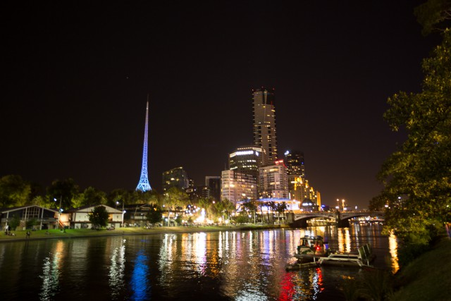 Melbourne at night from Federation Square.