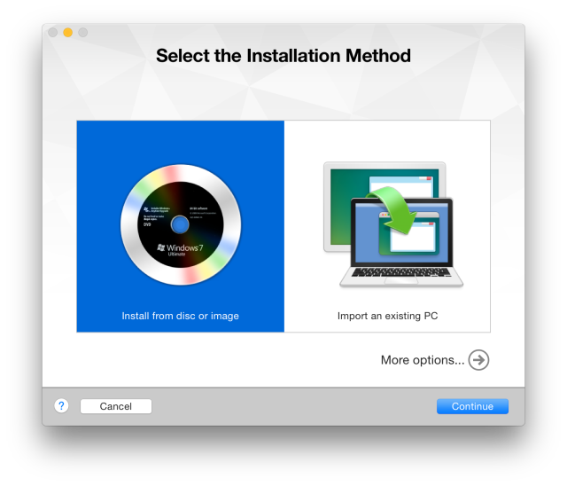 Installing Windows in VMWare Fusion