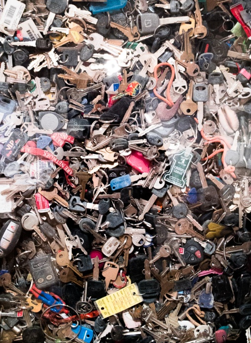 A collection of keys gathered over the years left at Burning Man.