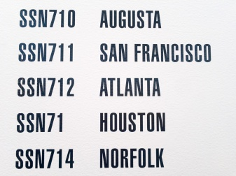 I've heard of these places! The submarines took on different naming schemes over the years. Such a coincidence that San Francisco and Atlanta are next to each other.